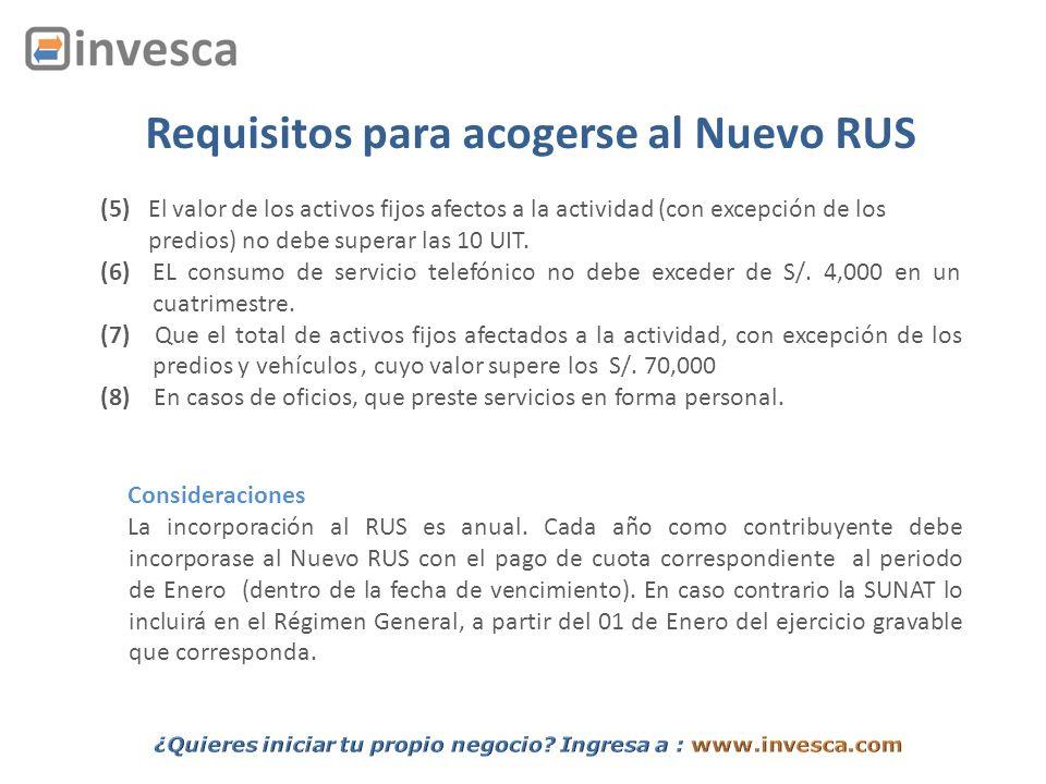 Requisitos para acogerse al Nuevo RUS (5) El valor de los activos fijos afectos a la actividad (con excepción de los predios) no debe superar las 10 U