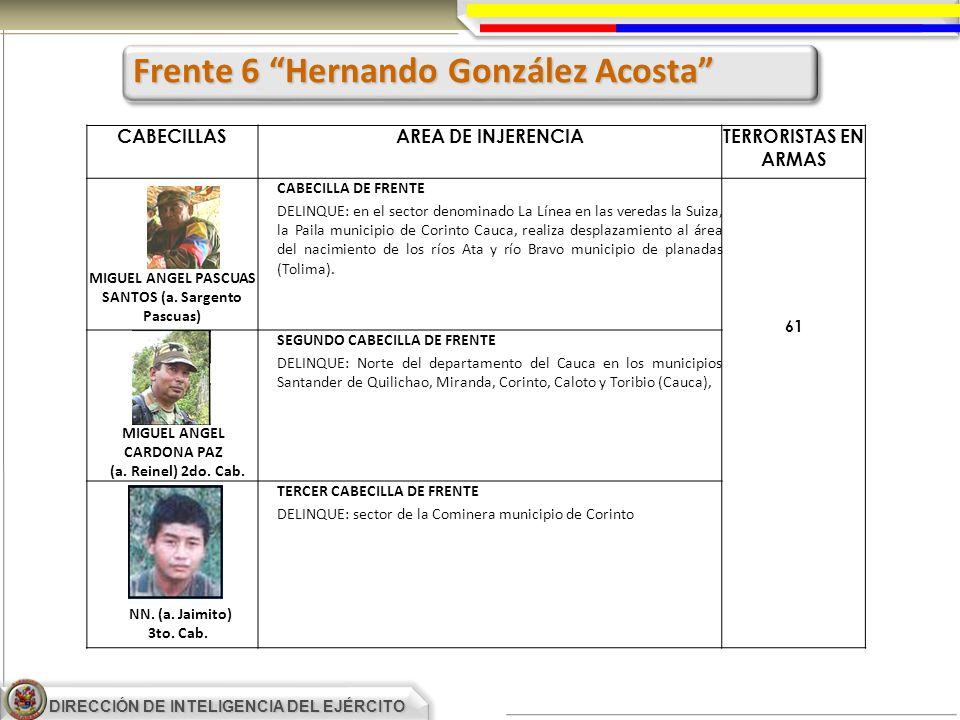 DIRECCIÓN DE INTELIGENCIA DEL EJÉRCITO CABECILLASAREA DE INJERENCIATERRORISTAS EN ARMAS CABECILLA DE FRENTE DELINQUE: en el sector denominado La Línea