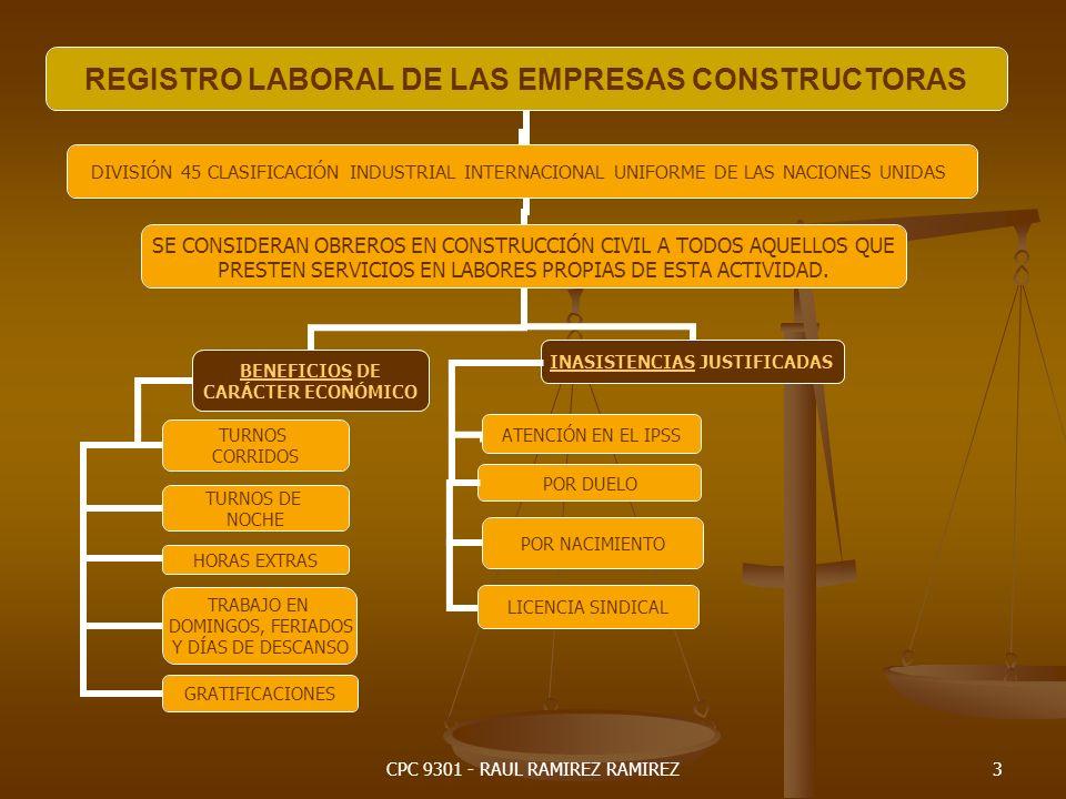 CPC 9301 - RAUL RAMIREZ RAMIREZ4 REGISTRO LABORAL DE LAS EMPRESAS CONSTRUCTORAS DIVISIÓN 45 CLASIFICACIÓN INDUSTRIAL INTERNACIONAL UNIFORME DE LAS NACIONES UNIDAS SE CONSIDERAN OBREROS EN CONSTRUCCIÓN CIVIL A TODOS AQUELLOS QUE PRESTEN SERVICIOS EN LABORES PROPIAS DE ESTA ACTIVIDAD.