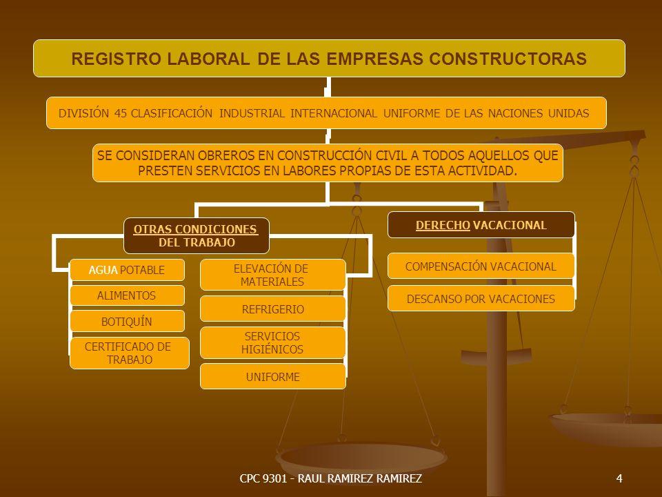 CPC 9301 - RAUL RAMIREZ RAMIREZ5 REGISTRO LABORAL DE LAS EMPRESAS CONSTRUCTORAS DIVISIÓN 45 CLASIFICACIÓN INDUSTRIAL INTERNACIONAL UNIFORME DE LAS NACIONES UNIDAS SE CONSIDERAN OBREROS EN CONSTRUCCIÓN CIVIL A TODOS AQUELLOS QUE PRESTEN SERVICIOS EN LABORES PROPIAS DE ESTA ACTIVIDAD.