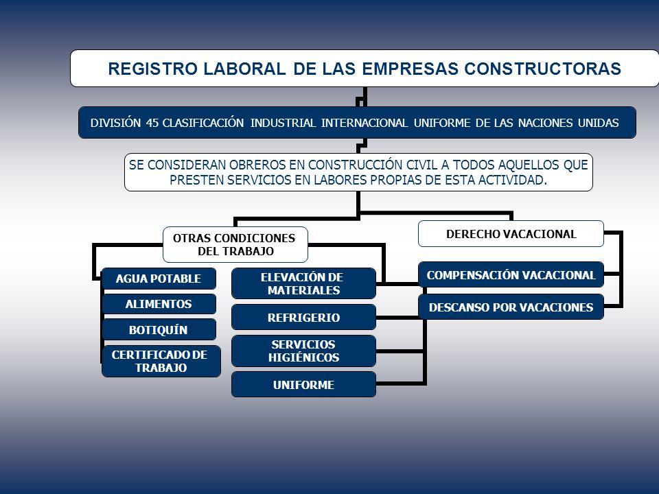 REGISTRO LABORAL DE LAS EMPRESAS CONSTRUCTORAS DIVISIÓN 45 CLASIFICACIÓN INDUSTRIAL INTERNACIONAL UNIFORME DE LAS NACIONES UNIDAS SE CONSIDERAN OBRERO