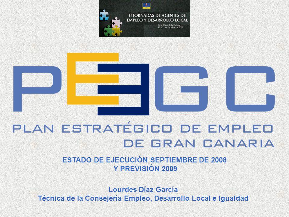 ESTADO DE EJECUCIÓN SEPTIEMBRE DE 2008 Y PREVISIÓN 2009 Lourdes Díaz García Técnica de la Consejería Empleo, Desarrollo Local e Igualdad