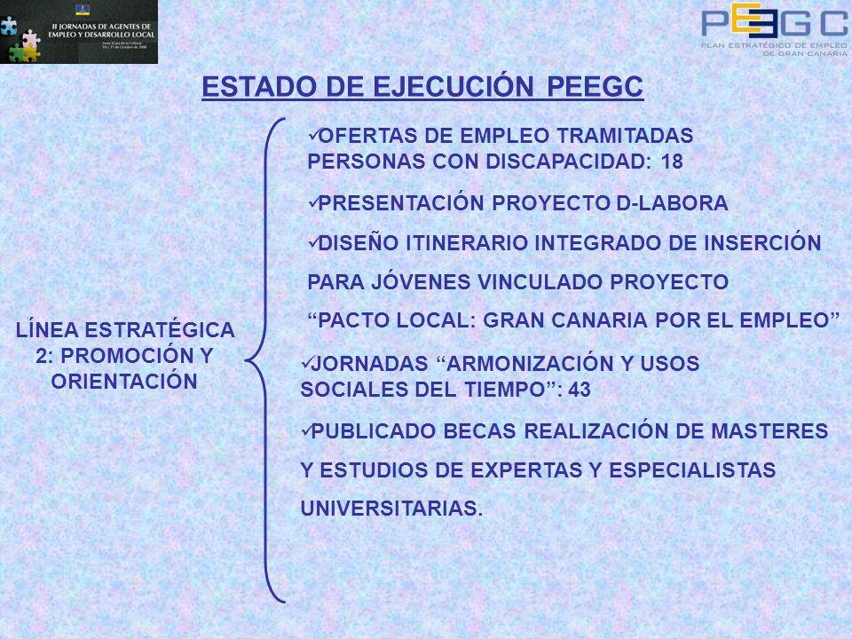 ESTADO DE EJECUCIÓN PEEGC LÍNEA ESTRATÉGICA 2: PROMOCIÓN Y ORIENTACIÓN OFERTAS DE EMPLEO TRAMITADAS PERSONAS CON DISCAPACIDAD: 18 PRESENTACIÓN PROYECT