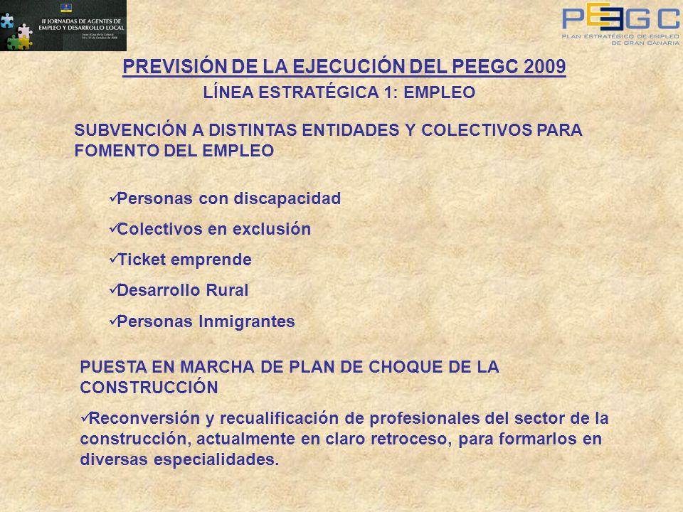 PREVISIÓN DE LA EJECUCIÓN DEL PEEGC 2009 LÍNEA ESTRATÉGICA 1: EMPLEO SUBVENCIÓN A DISTINTAS ENTIDADES Y COLECTIVOS PARA FOMENTO DEL EMPLEO Personas co