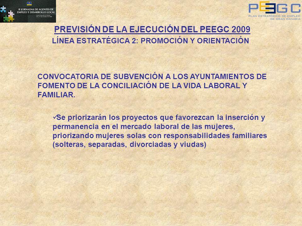 PREVISIÓN DE LA EJECUCIÓN DEL PEEGC 2009 LÍNEA ESTRATÉGICA 2: PROMOCIÓN Y ORIENTACIÓN CONVOCATORIA DE SUBVENCIÓN A LOS AYUNTAMIENTOS DE FOMENTO DE LA