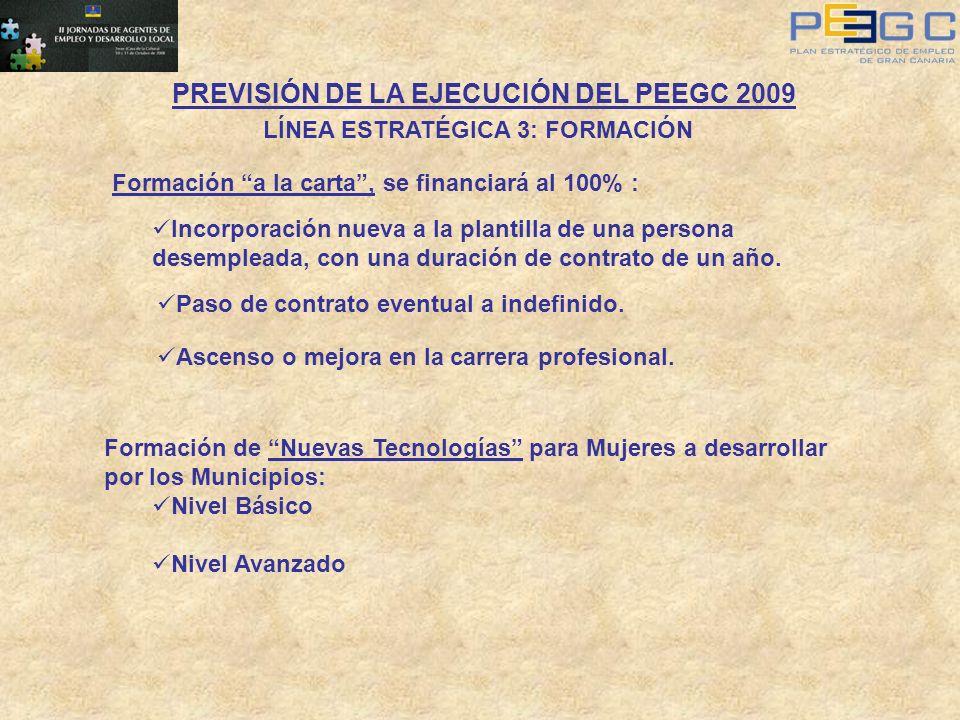 PREVISIÓN DE LA EJECUCIÓN DEL PEEGC 2009 LÍNEA ESTRATÉGICA 3: FORMACIÓN Formación a la carta, se financiará al 100% : Incorporación nueva a la plantil