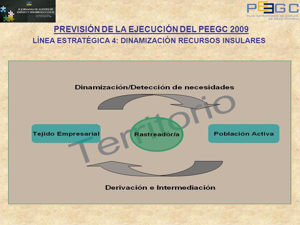 PREVISIÓN DE LA EJECUCIÓN DEL PEEGC 2009 LÍNEA ESTRATÉGICA 4: DINAMIZACIÓN RECURSOS INSULARES