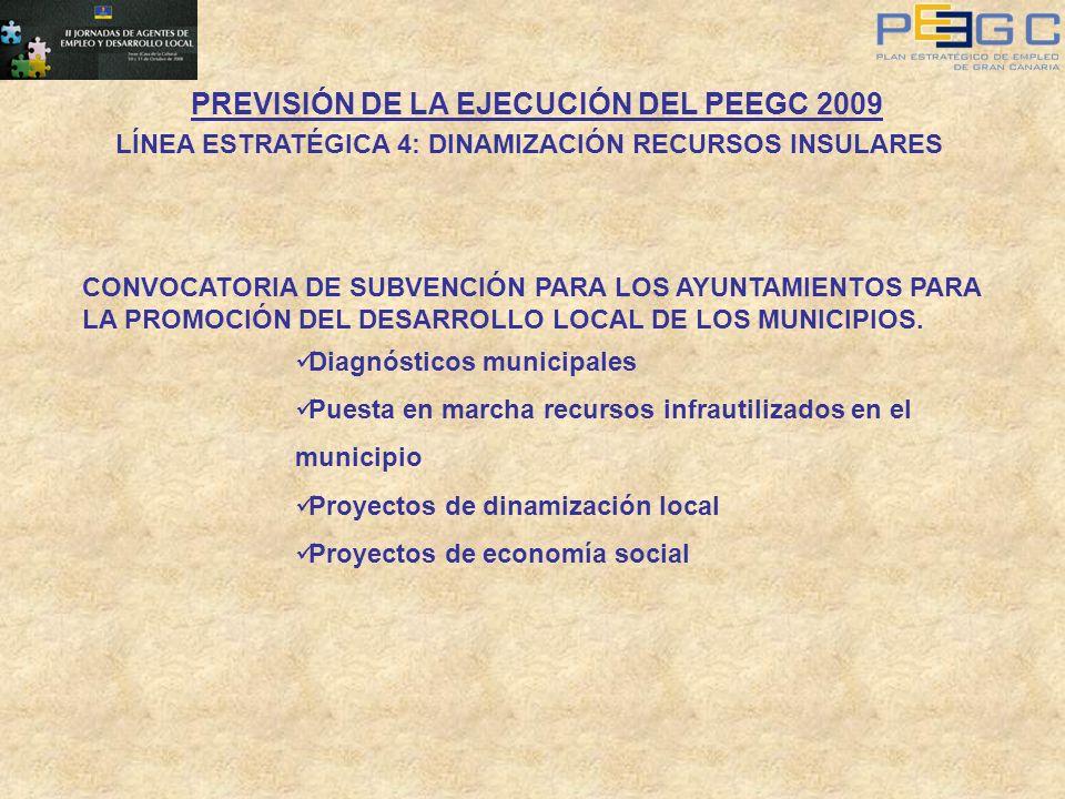 PREVISIÓN DE LA EJECUCIÓN DEL PEEGC 2009 LÍNEA ESTRATÉGICA 4: DINAMIZACIÓN RECURSOS INSULARES CONVOCATORIA DE SUBVENCIÓN PARA LOS AYUNTAMIENTOS PARA L