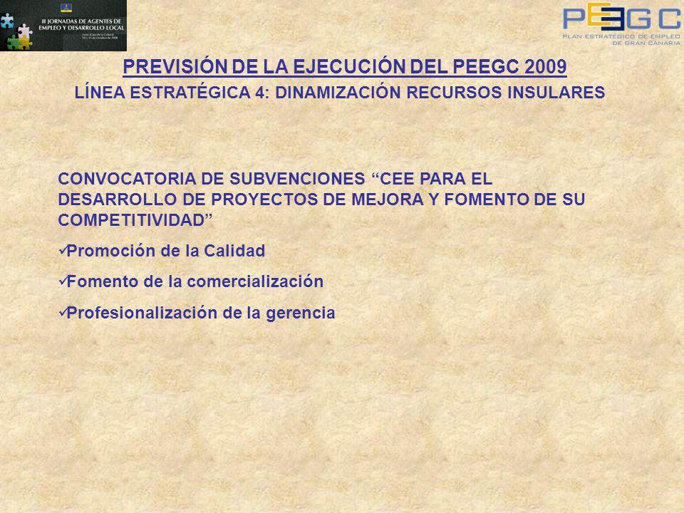 PREVISIÓN DE LA EJECUCIÓN DEL PEEGC 2009 LÍNEA ESTRATÉGICA 4: DINAMIZACIÓN RECURSOS INSULARES CONVOCATORIA DE SUBVENCIONES CEE PARA EL DESARROLLO DE P