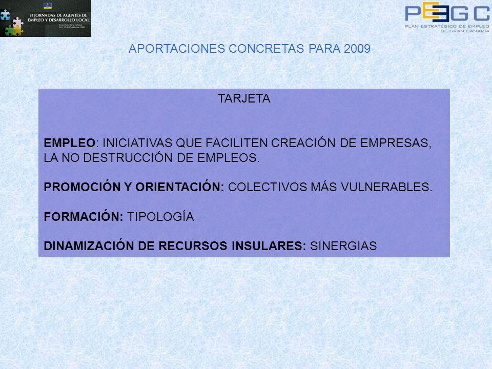 APORTACIONES CONCRETAS PARA 2009 TARJETA EMPLEO: INICIATIVAS QUE FACILITEN CREACIÓN DE EMPRESAS, LA NO DESTRUCCIÓN DE EMPLEOS. PROMOCIÓN Y ORIENTACIÓN