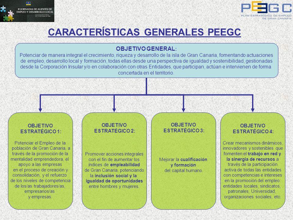 OBJETIVO GENERAL : Potenciar de manera integral el crecimiento, riqueza y desarrollo de la isla de Gran Canaria, fomentando actuaciones de empleo, des