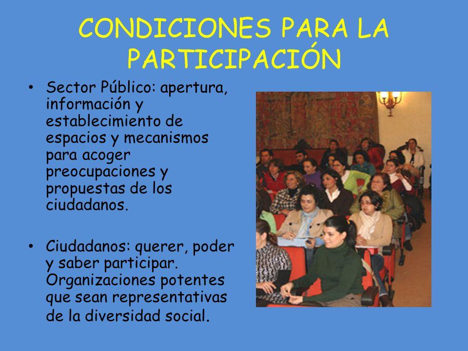 CONDICIONES PARA LA PARTICIPACIÓN Sector Público: apertura, información y establecimiento de espacios y mecanismos para acoger preocupaciones y propuestas de los ciudadanos.