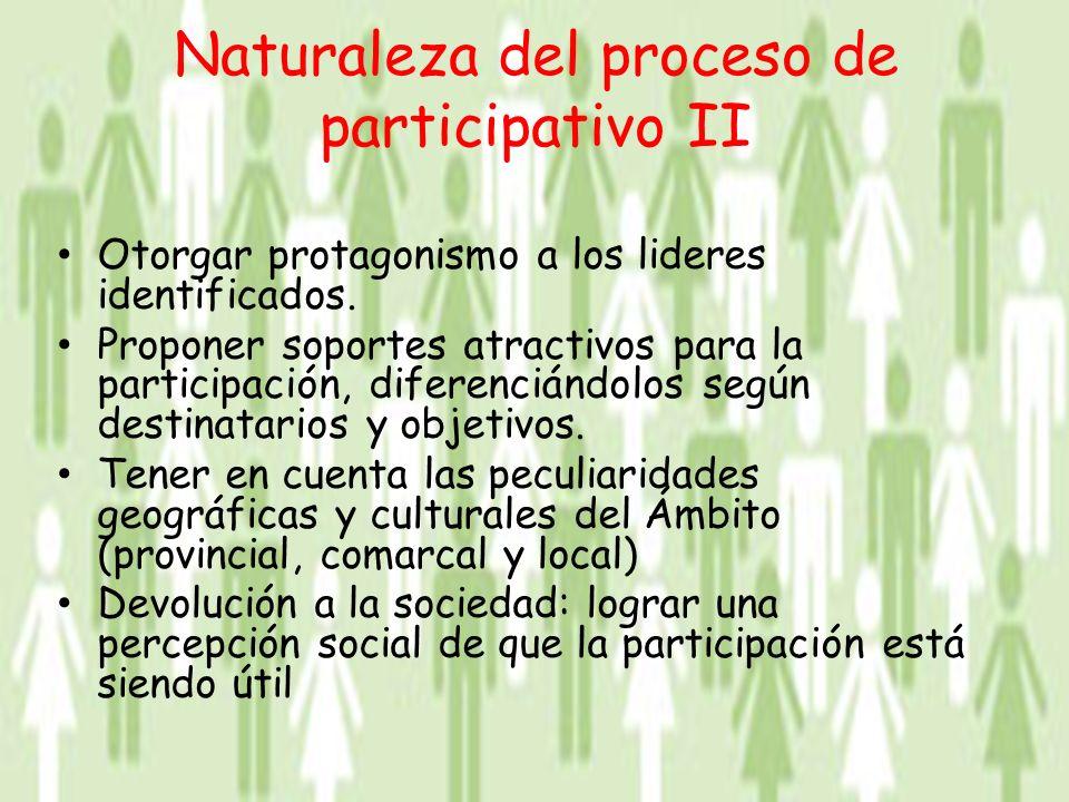 Naturaleza del proceso de participativo II Otorgar protagonismo a los lideres identificados.