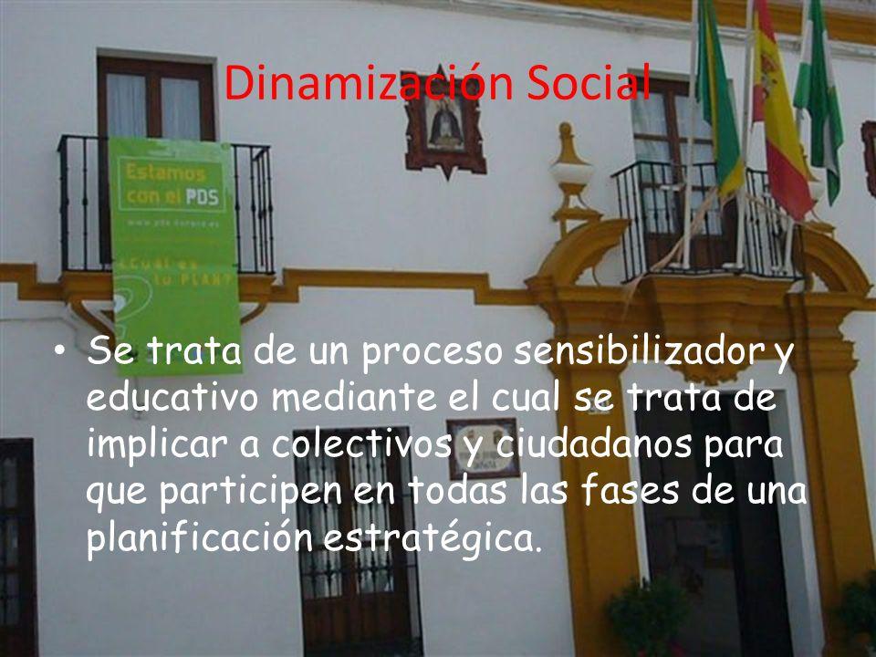 Dinamización Social Se trata de un proceso sensibilizador y educativo mediante el cual se trata de implicar a colectivos y ciudadanos para que participen en todas las fases de una planificación estratégica.
