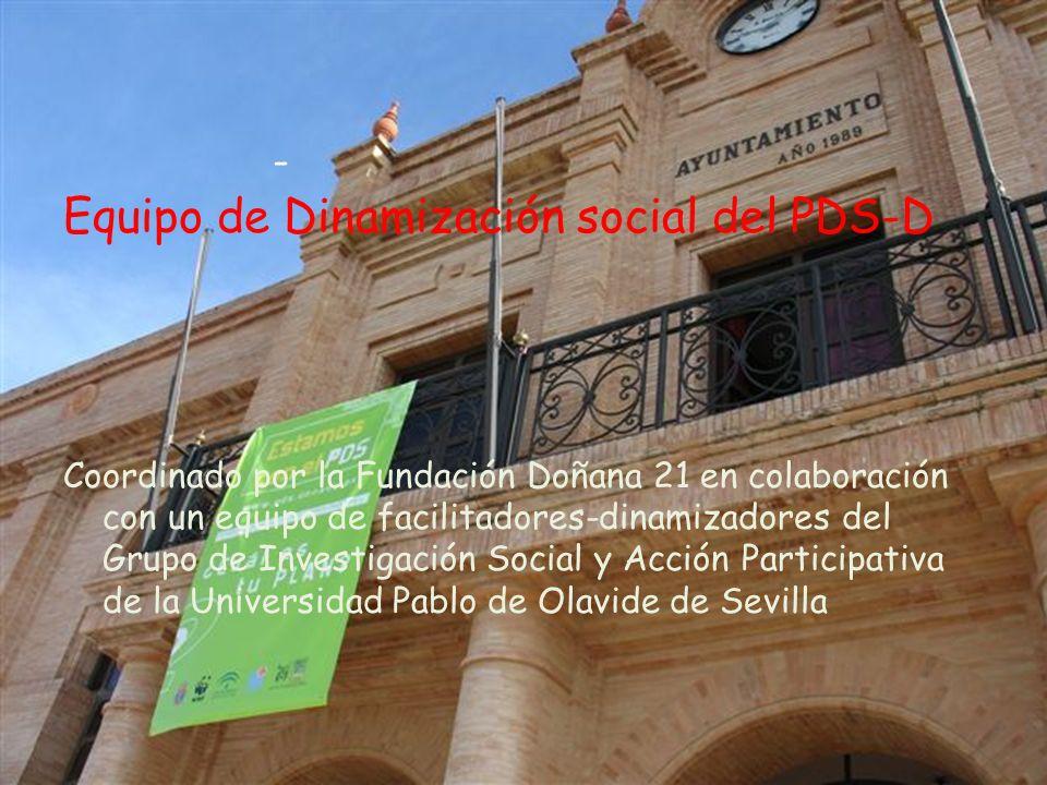 Equipo de Dinamización social del PDS-D Coordinado por la Fundación Doñana 21 en colaboración con un equipo de facilitadores-dinamizadores del Grupo de Investigación Social y Acción Participativa de la Universidad Pablo de Olavide de Sevilla -