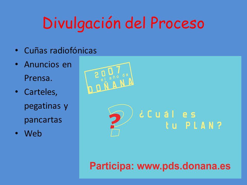 Divulgación del Proceso Cuñas radiofónicas Anuncios en Prensa. Carteles, pegatinas y pancartas Web
