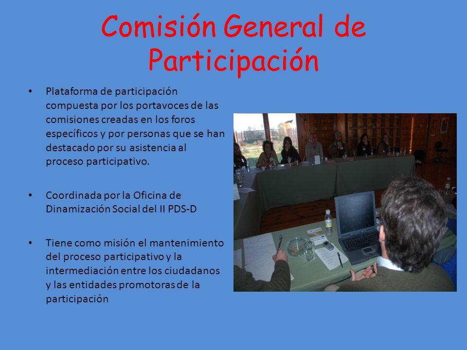 Comisión General de Participación Plataforma de participación compuesta por los portavoces de las comisiones creadas en los foros específicos y por personas que se han destacado por su asistencia al proceso participativo.