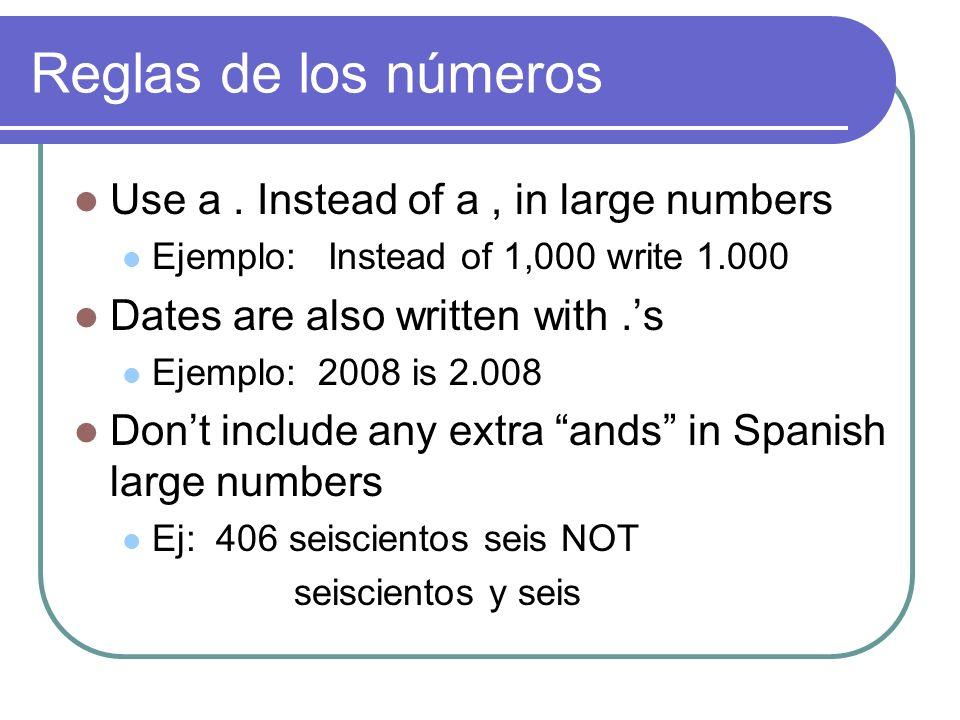 Reglas de los números Use a.