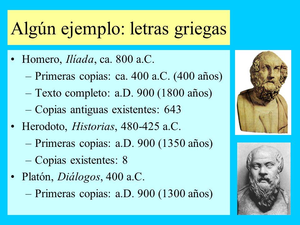 Algún ejemplo: letras griegas Homero, Ilíada, ca. 800 a.C. –Primeras copias: ca. 400 a.C. (400 años) –Texto completo: a.D. 900 (1800 años) –Copias ant