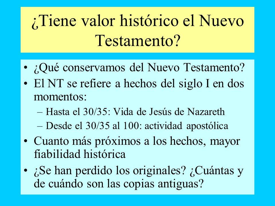 ¿Tiene valor histórico el Nuevo Testamento? ¿Qué conservamos del Nuevo Testamento? El NT se refiere a hechos del siglo I en dos momentos: –Hasta el 30