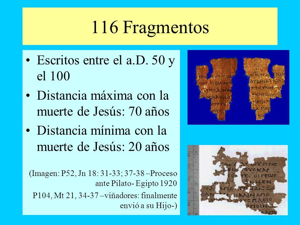 116 Fragmentos Escritos entre el a.D. 50 y el 100 Distancia máxima con la muerte de Jesús: 70 años Distancia mínima con la muerte de Jesús: 20 años (I