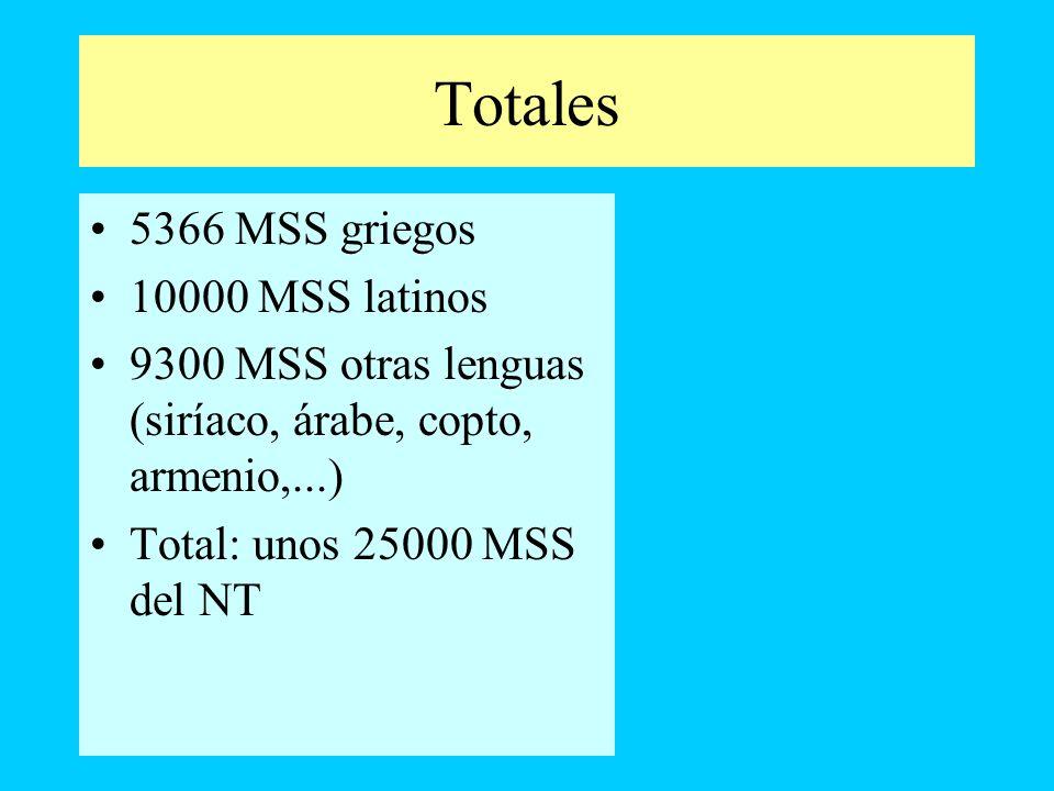Totales 5366 MSS griegos 10000 MSS latinos 9300 MSS otras lenguas (siríaco, árabe, copto, armenio,...) Total: unos 25000 MSS del NT