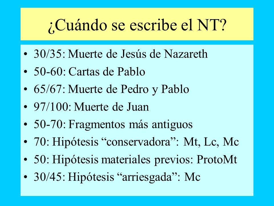 ¿Cuándo se escribe el NT? 30/35: Muerte de Jesús de Nazareth 50-60: Cartas de Pablo 65/67: Muerte de Pedro y Pablo 97/100: Muerte de Juan 50-70: Fragm