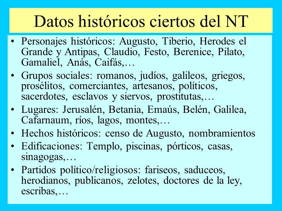 Datos históricos ciertos del NT Personajes históricos: Augusto, Tiberio, Herodes el Grande y Antipas, Claudio, Festo, Berenice, Pilato, Gamaliel, Anás