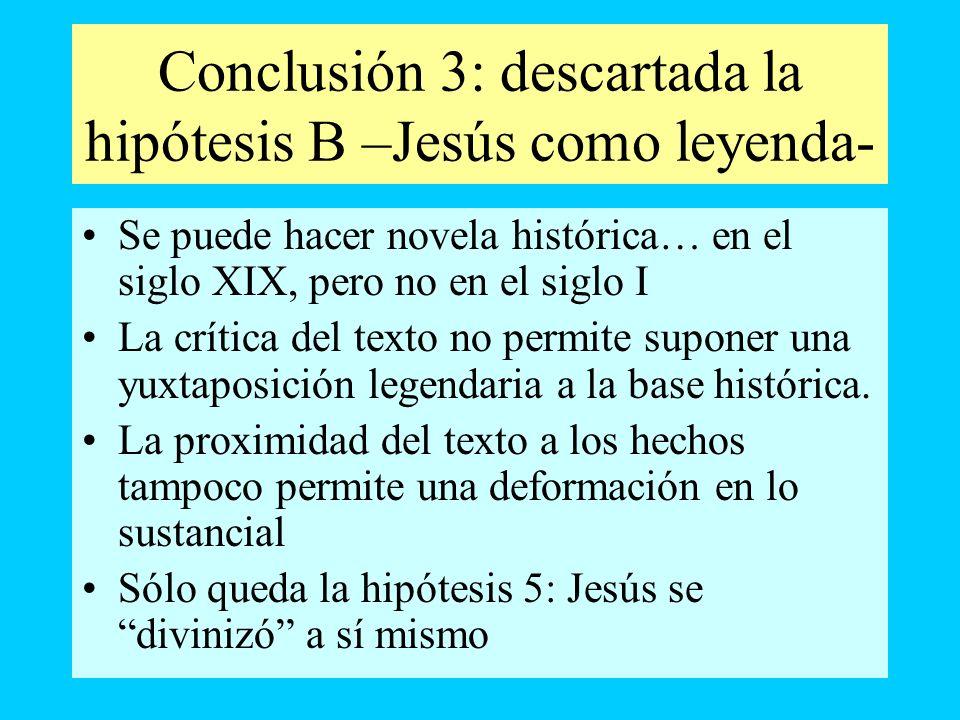 Conclusión 3: descartada la hipótesis B –Jesús como leyenda- Se puede hacer novela histórica… en el siglo XIX, pero no en el siglo I La crítica del te