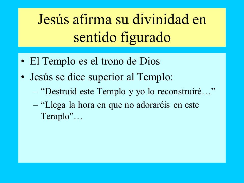 Jesús afirma su divinidad en sentido figurado El Templo es el trono de Dios Jesús se dice superior al Templo: –Destruid este Templo y yo lo reconstrui