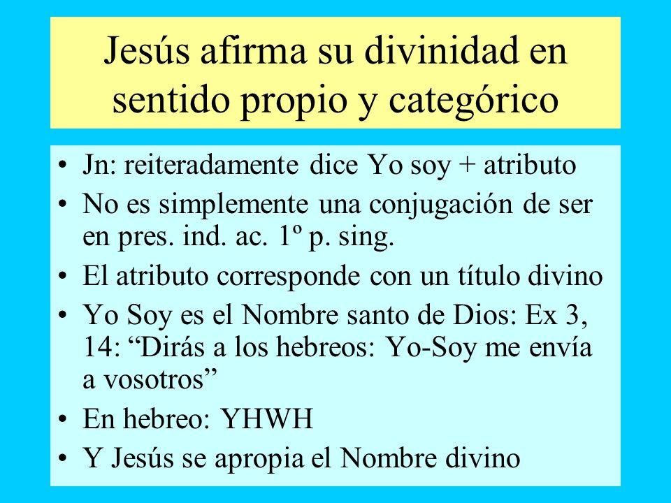 Jesús afirma su divinidad en sentido propio y categórico Jn: reiteradamente dice Yo soy + atributo No es simplemente una conjugación de ser en pres. i
