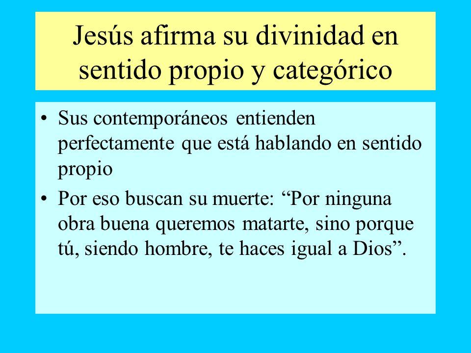 Jesús afirma su divinidad en sentido propio y categórico Sus contemporáneos entienden perfectamente que está hablando en sentido propio Por eso buscan