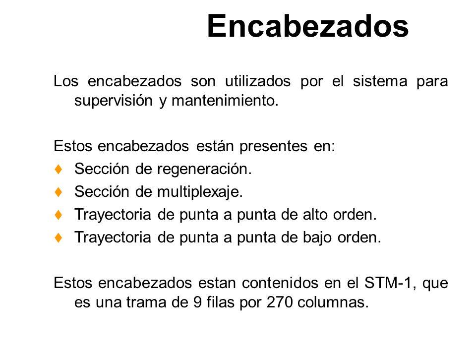 Multiplexación de un STM-4 y un STM-16 STM 1 #1 STM 1 #2 STM 1 #3 STM 1 #4 AAAA BBBB CCCC DDDD ABCD STM 4 MUXMUX STM 1 #1 STM 1 #2 STM 1 #3 STM 1 #4 S