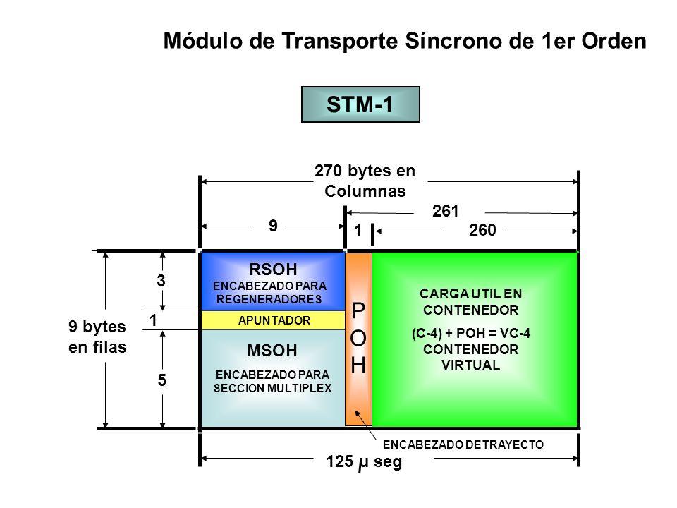 Secciones y Trayectorias Trayecto de Bajo Orden REG M UX STM-n Contene dor de caga útil de Bajo Orden Contene dor de caga útil de Alto Orden Ensambl a