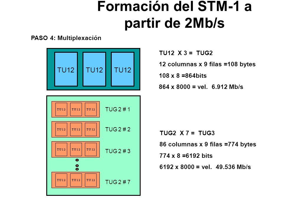 Formación del STM-1 a partir de 2Mb/s PDH 2 Mb/s Carga Util 2 Mb/s PASO 1: Justificación 2 Mbps + Mapeo = C12 Señales PDH entre 2.046 y 2.050 Mbps Vel