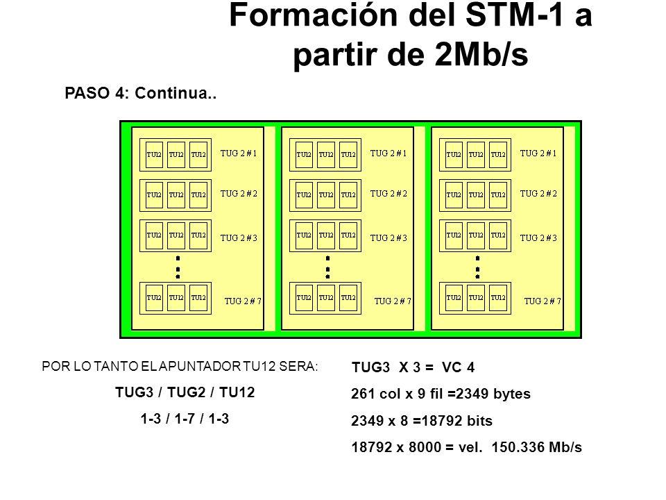 PASO 4: Multiplexación TU12 TU12 X 3 = TUG2 12 columnas x 9 filas =108 bytes 108 x 8 =864bits 864 x 8000 = vel. 6.912 Mb/s TUG 2 # 1 TUG 2 # 2 TUG 2 #