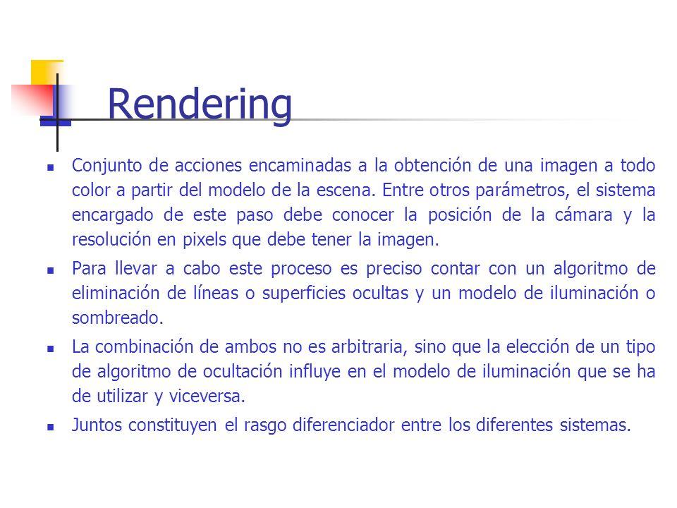 Rendering Conjunto de acciones encaminadas a la obtención de una imagen a todo color a partir del modelo de la escena. Entre otros parámetros, el sist