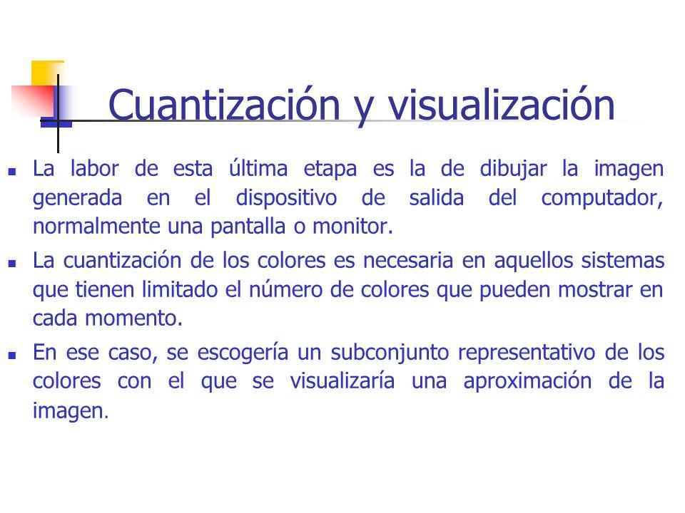 Cuantización y visualización La labor de esta última etapa es la de dibujar la imagen generada en el dispositivo de salida del computador, normalmente