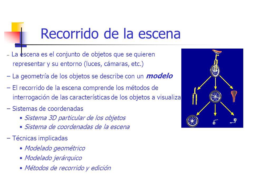 – La escena es el conjunto de objetos que se quieren representar y su entorno (luces, cámaras, etc.) – La geometría de los objetos se describe con un