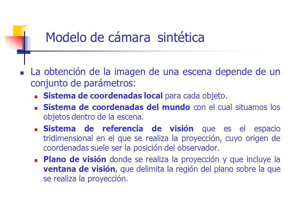 Modelo de cámara sintética La obtención de la imagen de una escena depende de un conjunto de parámetros: Sistema de coordenadas local para cada objeto