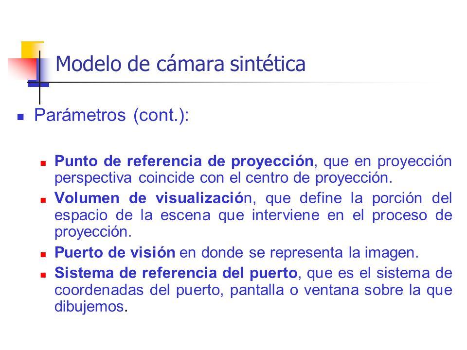 Modelo de cámara sintética Parámetros (cont.): Punto de referencia de proyección, que en proyección perspectiva coincide con el centro de proyección.