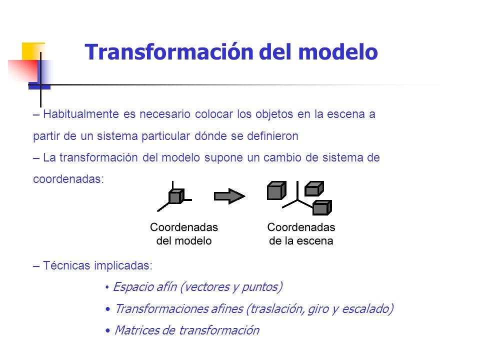 – Habitualmente es necesario colocar los objetos en la escena a partir de un sistema particular dónde se definieron – La transformación del modelo sup