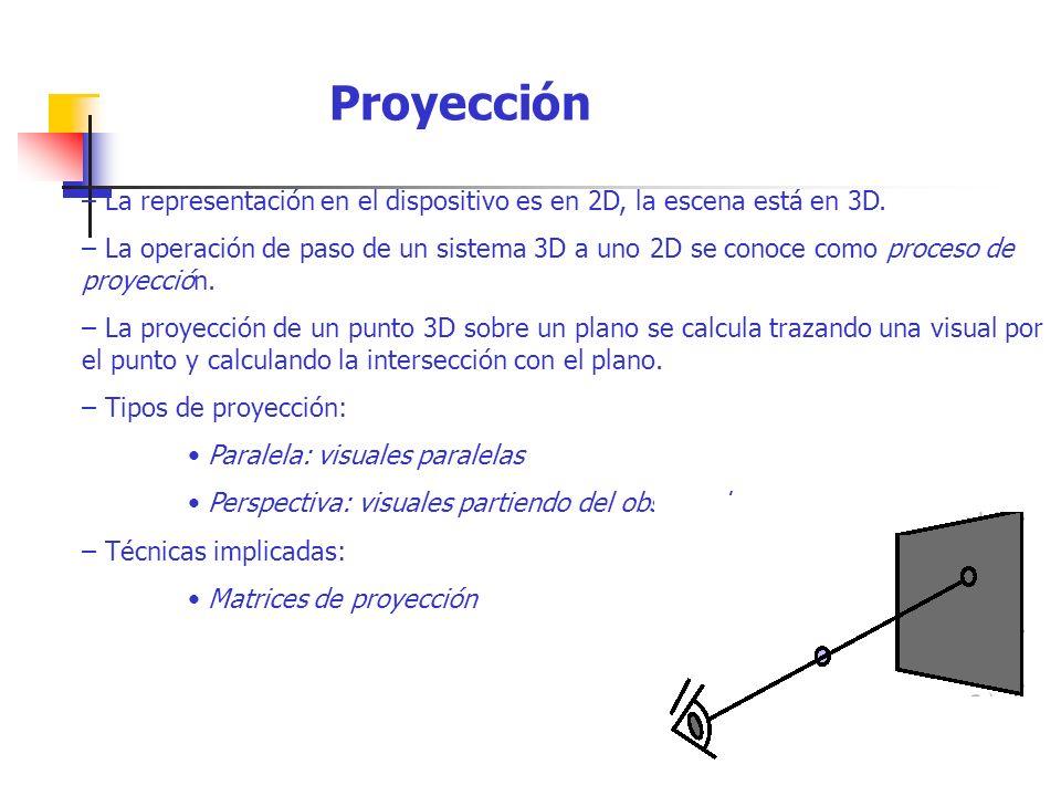– La representación en el dispositivo es en 2D, la escena está en 3D. – La operación de paso de un sistema 3D a uno 2D se conoce como proceso de proye