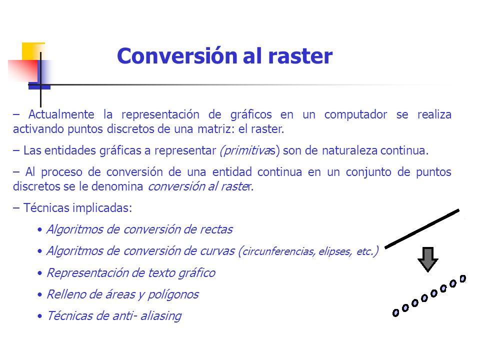 – Actualmente la representación de gráficos en un computador se realiza activando puntos discretos de una matriz: el raster. – Las entidades gráficas