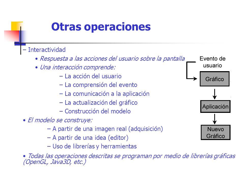 – Interactividad Respuesta a las acciones del usuario sobre la pantalla. Una interacción comprende: – La acción del usuario – La comprensión del event