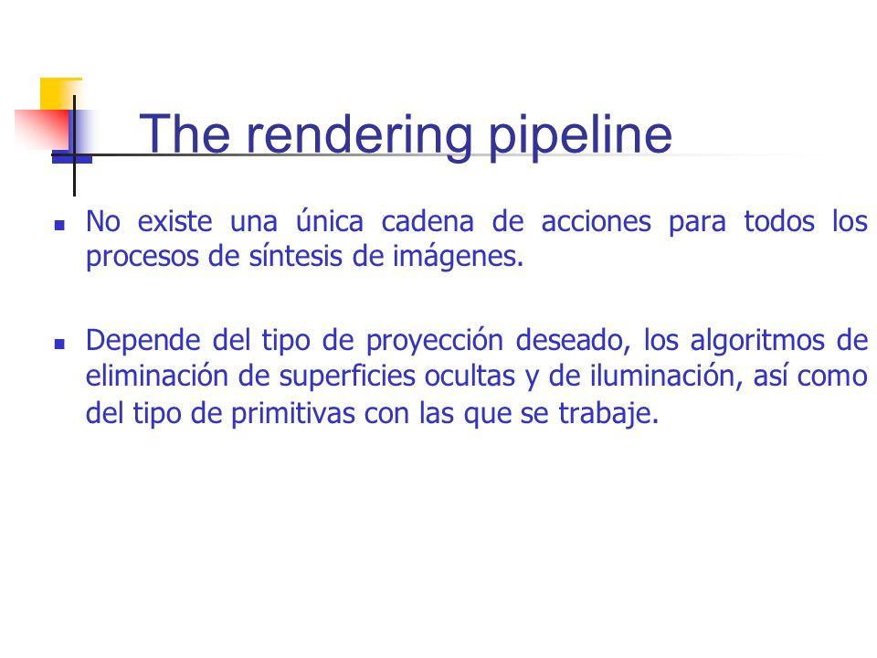 The rendering pipeline No existe una única cadena de acciones para todos los procesos de síntesis de imágenes. Depende del tipo de proyección deseado,