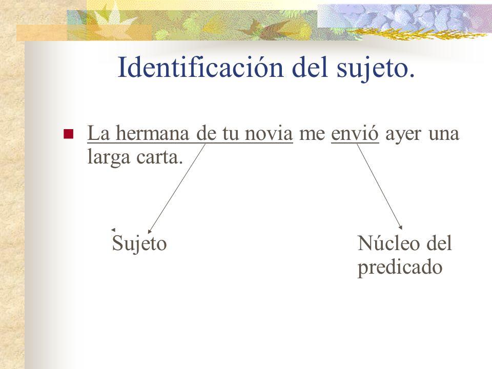 Identificación del sujeto. Si se puede determinar cual es el núcleo del predicado, solo hace falta ver qué sustantivo o frase sustantiva rige a ese nú