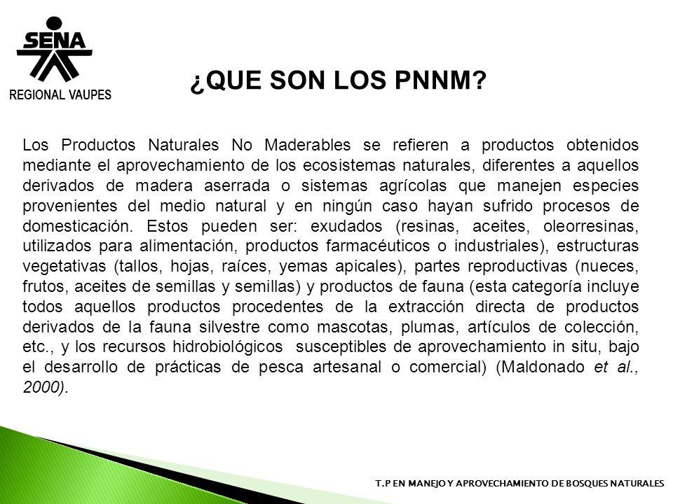 REGIONAL VAUPES T.P EN MANEJO Y APROVECHAMIENTO DE BOSQUES NATURALES Los Productos Naturales No Maderables se refieren a productos obtenidos mediante