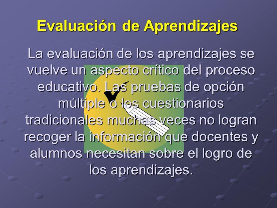 La evaluación de los aprendizajes se vuelve un aspecto crítico del proceso educativo. Las pruebas de opción múltiple o los cuestionarios tradicionales