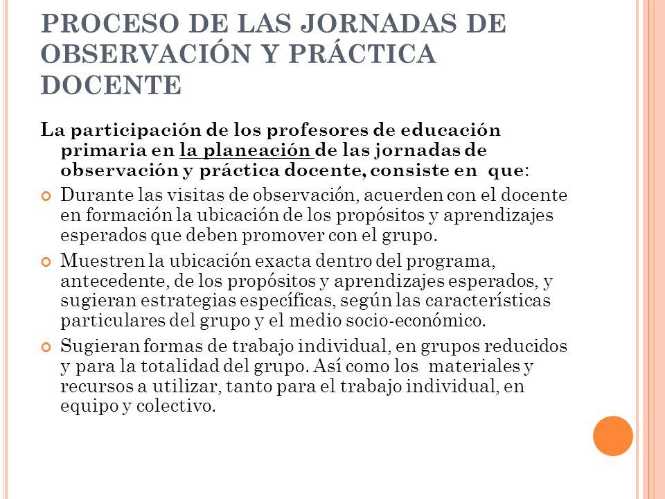 PROCESO DE LAS JORNADAS DE OBSERVACIÓN Y PRÁCTICA DOCENTE La participación de los profesores de educación primaria en la planeación de las jornadas de